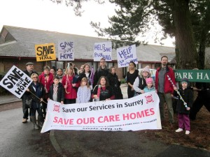 Save our Care Homes march in Reigate